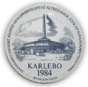 I 1984 lod Lions Club Karlebo fremstille en platte med Ringovnen som motiv.